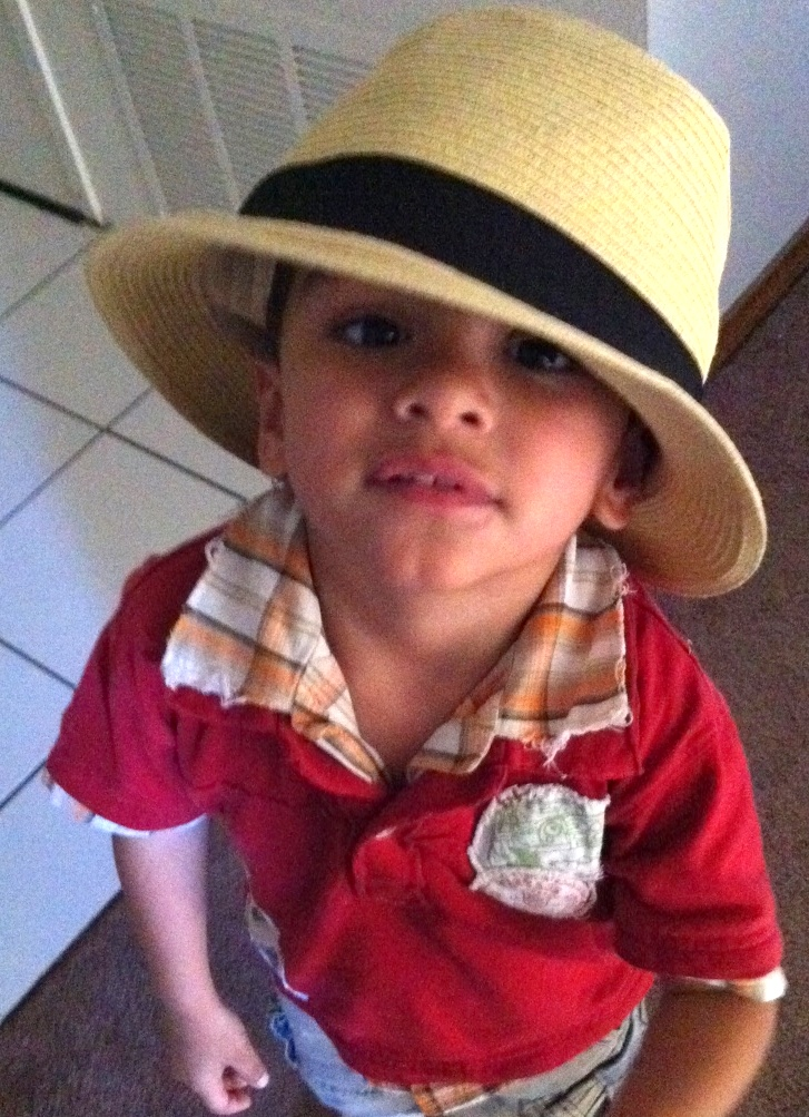 my son wearing a fedora