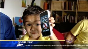 little boy with iPhone