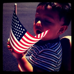 toddler with USA flag