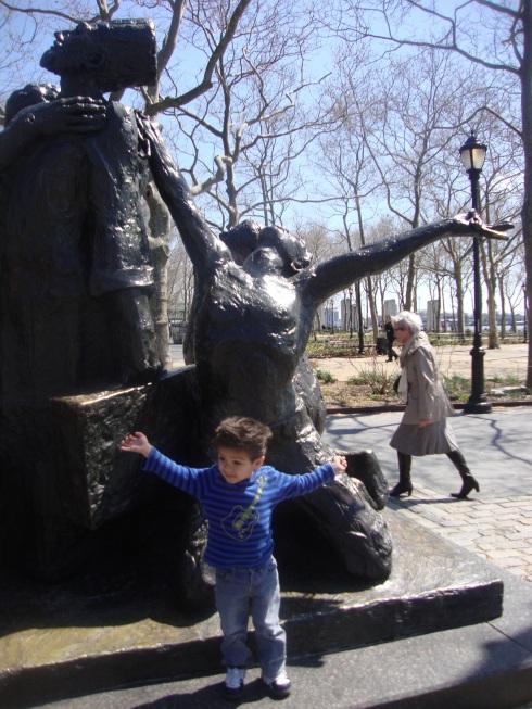Little boy spread arms
