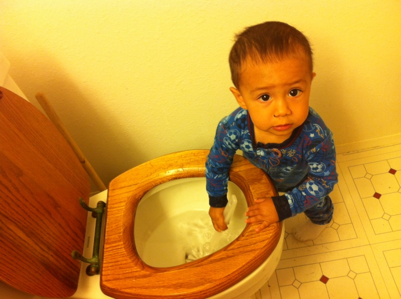 toddler with hands in toilet