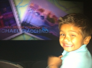 little boy in movie theater