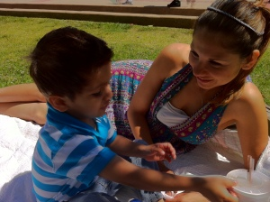 park day for mom and son