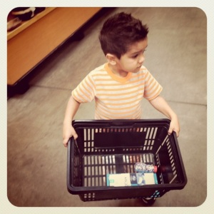 little boy and grocery basket