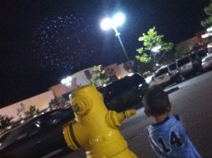little boy watches fireworks