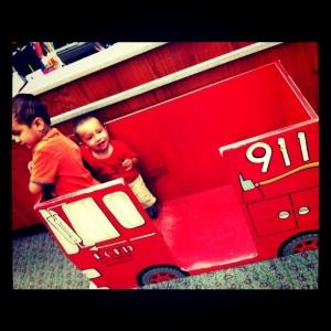 Little boys in firetruck
