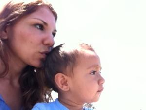 kiss on little boy's head
