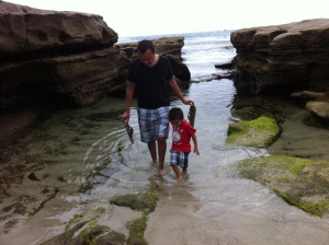father and son in beach