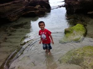 little boy in beach