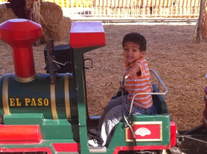 little boy on little train